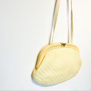 VINTAGE Butter Yellow Rattan Purse
